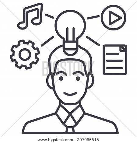 idea generation businessman marketing plan vector line icon, sign, illustration on white background, editable strokes