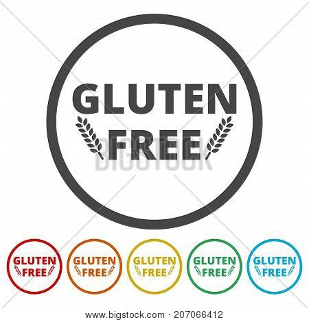 Gluten free icons set, simple vector icon