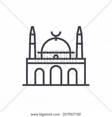 islam mosque vector line icon, sign, illustration on white background, editable strokes