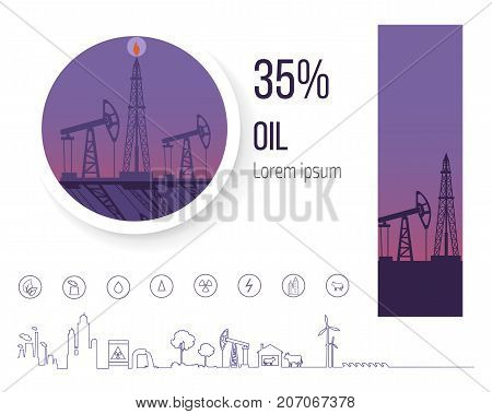 Oil industry 35 percent, poster with icons related to black petrol and fuel refinery. Vector illustration of industrial platform for gasoline production