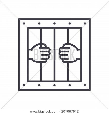jail vector line icon, sign, illustration on white background, editable strokes