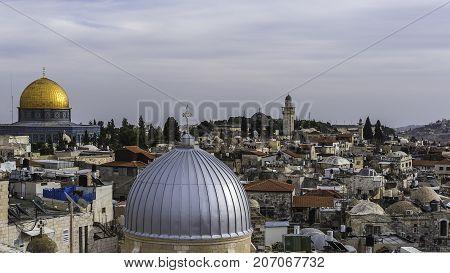Jerusalem Israel - December 04 2016: Old City Jerusalem view on roofs of Jerusalem from top of the Austrian Hospice