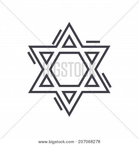 jewish david star vector line icon, sign, illustration on white background, editable strokes
