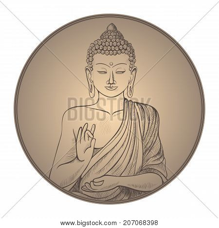 Gautama buddha with closed eyes and raised right hand, represent in frame of circle shape on vector illustration isolated on white