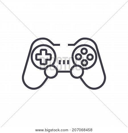 joystick, gamepad vector line icon, sign, illustration on white background, editable strokes
