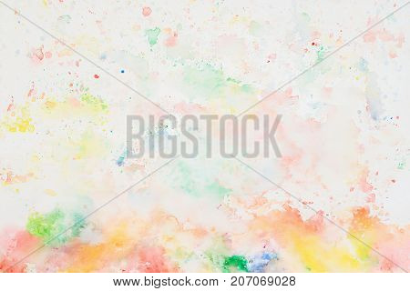Rainbow cheerful light multicolored spot, spring shades. Hand drawn . Texture of watercolor paper. Layout for design
