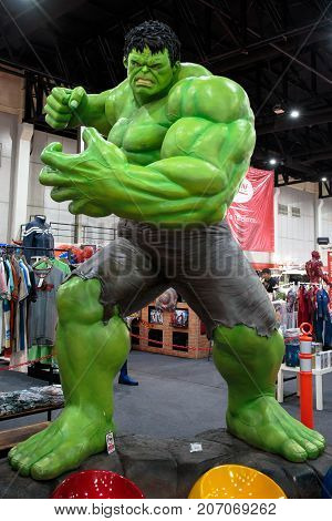 Bangkok, Thailand. - August 28, 2017 : The Hulk, Marvel super heroes stand for promote movie at Bangkok, Thailand.