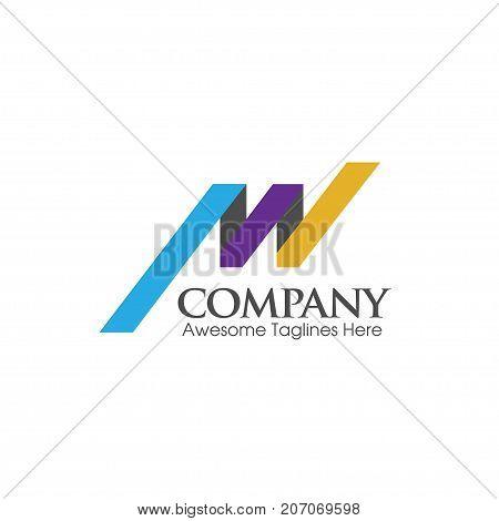 creative simple letter AW logo flat color,letter MW logo design