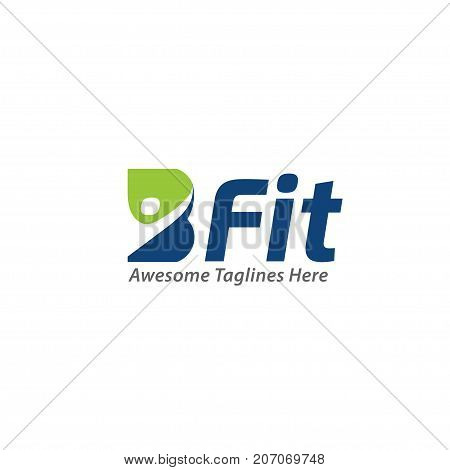 B-fit, creative B letter health concept Vector logo template, abstract business letter B logo vector