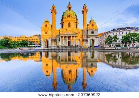 Vienna Austria. St. Charles's Church (Karlskirche) at sunset.