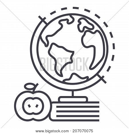 knowledge, book, apple, globus vector line icon, sign, illustration on white background editable strokes