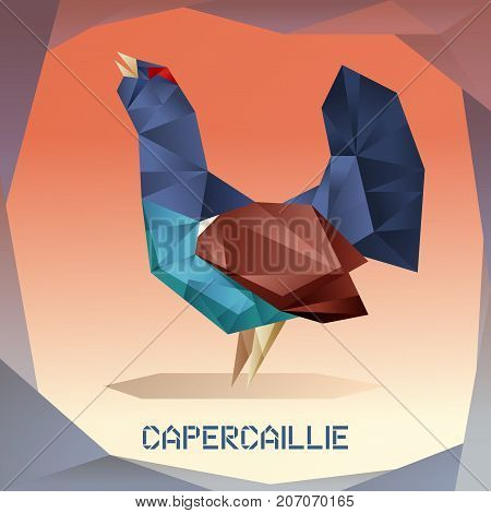 Vector image of the Origami mosaic Capercaillie