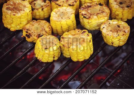 Grilled Corn, Vegetables Grilled Corn On The Hot Stove