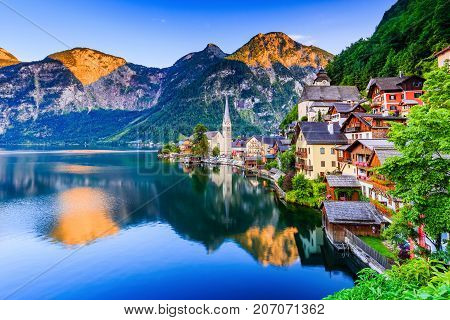 Hallstatt Austria. Mountain village in the Austrian Alps at twilight.