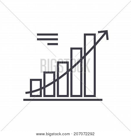 line chart vector line icon, sign, illustration on white background, editable strokes
