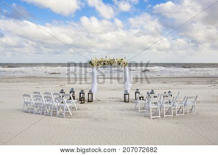 Wedding venue set up for small beach wedding