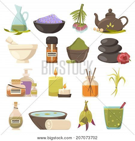 Natural cosmetology icons set related to beauty spa relaxation aroma therapy and thalassotherapy flat isolated vector illustration