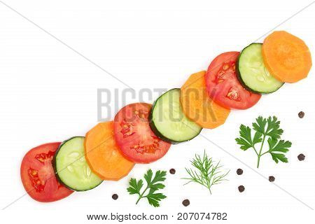 tomato, cucumber and carrot slice with parsley leaves, dill, onion, garlic, peppercorns isolated on white background with copy space for your text. Top view.