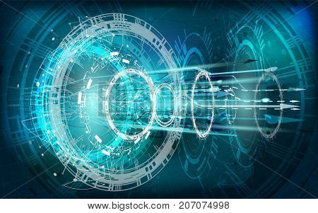 Vector Abstract technology background with various technology elements