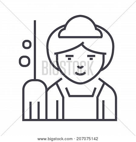 maid vector line icon, sign, illustration on white background, editable strokes