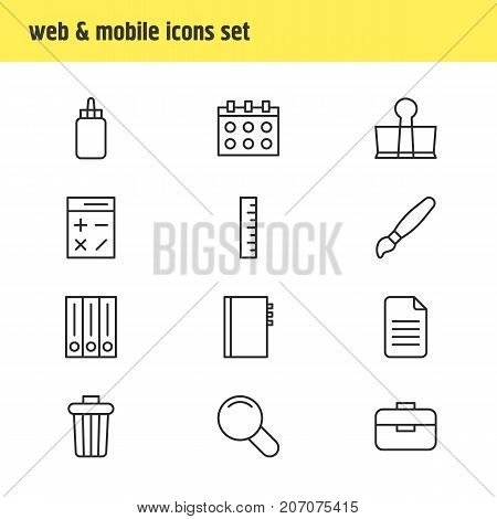 Editable Pack Of Zoom, Calculate, Meter And Other Elements.  Vector Illustration Of 12 Tools Icons.
