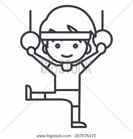 man aerobics, workout, gymnastics rings vector line icon, sign, illustration on white background, editable strokes
