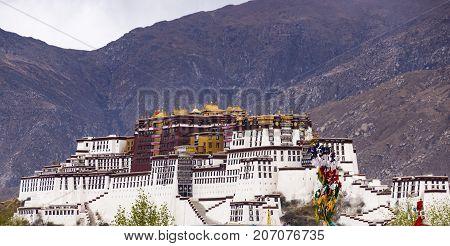 Famous Potala palace. World Heritage site, former Dalai Lama residence in Lhasa - Tibet