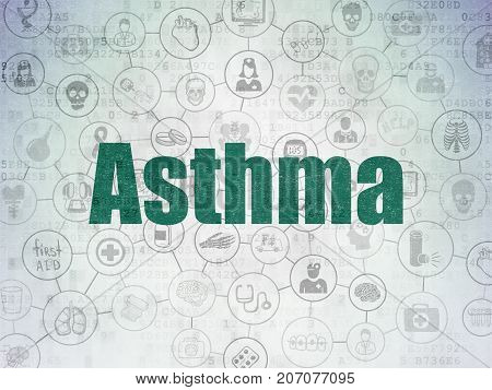 Medicine concept: Painted green text Asthma on Digital Data Paper background with  Scheme Of Hand Drawn Medicine Icons