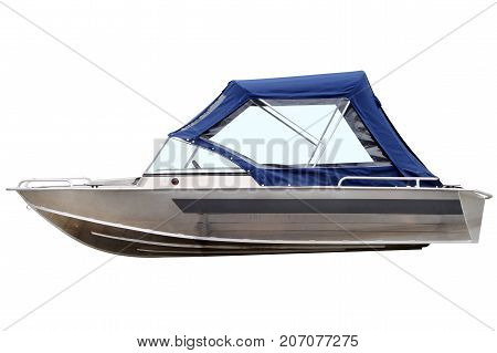 Boat with canvas top isolated on white background.