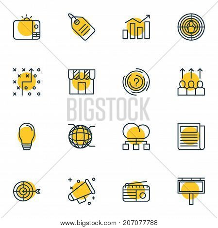 Editable Pack Of Cloud Distribution, Television, Advertising Billboard And Other Elements.  Vector Illustration Of 16 Advertising Icons.