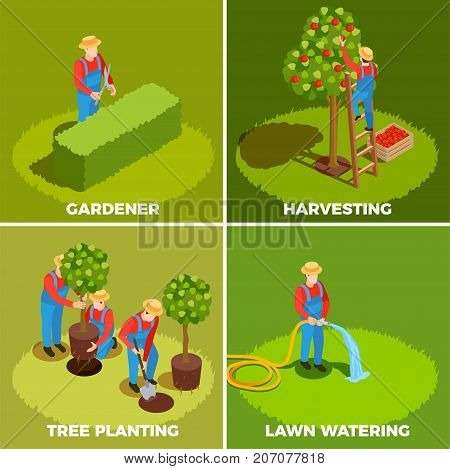 Gardener isometric people 2x2 design concept with human characters in hats and pinafores with gardening tools vector illustration