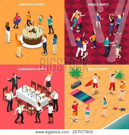 Isometric design concept with people at birthday party, dance evening, corporate celebration and beach isolated vector illustration