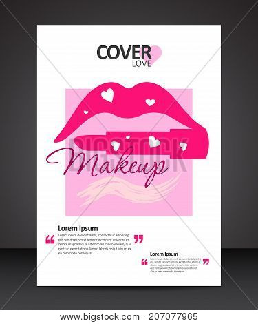 Make up beauty trendy cover design annual report vector template brochures flyers presentations leaflet magazine a4 size with lips and lipstick instead of the lower lip with hearts