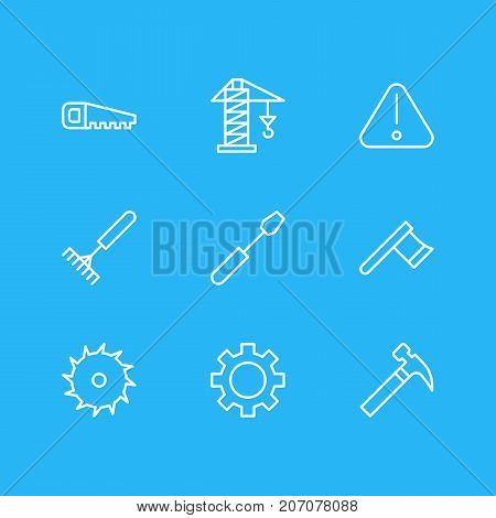 Editable Pack Of Hacksaw, Hatchet, Handle Hit Elements.  Vector Illustration Of 9 Structure Icons.