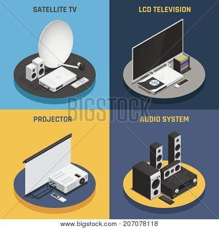 Home theater system projector and satellite 2x2 isometric icons set isolated on colorful backgrounds 3d vector illustration