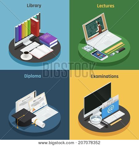 E-learning 2x2 isometric concept with various devices electronic library and diploma on colorful backgrounds 3d isolated vector illustration