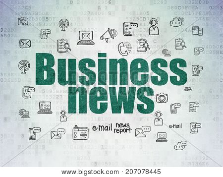 News concept: Painted green text Business News on Digital Data Paper background with  Hand Drawn News Icons
