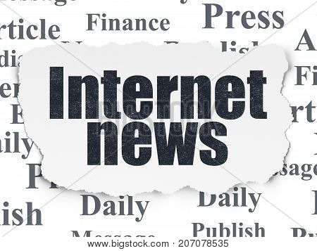 News concept: Painted black text Internet News on Torn Paper background with  Tag Cloud