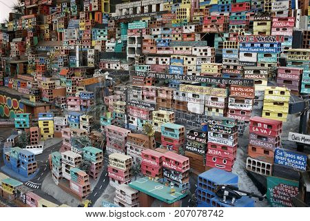 RIO DE JANEIRO, BRAZIL - September 26, 2017: Miniature depiction of a colorful favela community, part of the Projecto Morrinho social project.