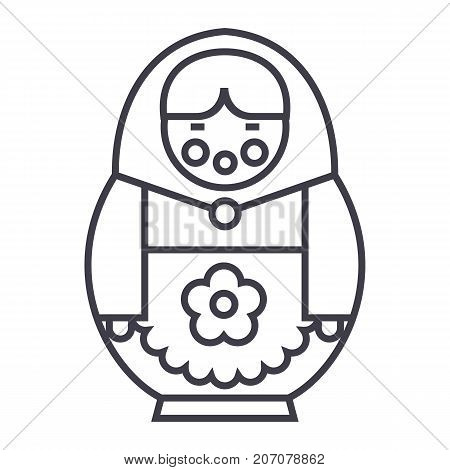 matryoshka vector line icon, sign, illustration on white background, editable strokes