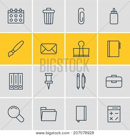 Editable Pack Of Zoom, Binder Clip, Paperclip And Other Elements.  Vector Illustration Of 16 Tools Icons.