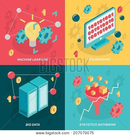 Machine learning isometric 2x2 design concept with colorful images of computer display network enclosure conceptual icons vector illustration