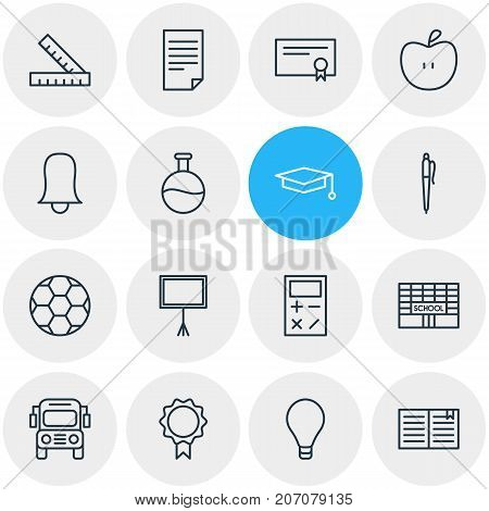 Editable Pack Of Calculate, Cap, Textbook And Other Elements.  Vector Illustration Of 16 Studies Icons.