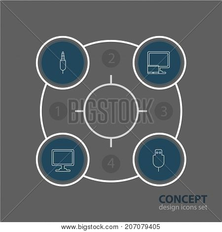 Editable Pack Of Input Jack, Screen, Serial Bus And Other Elements.  Vector Illustration Of 4 Laptop Icons.