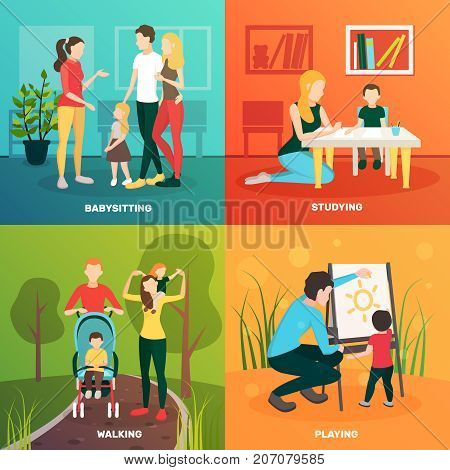 Babysitters people flat 2x2 design concept with colorful compositions of parents children and tender human characters vector illustration
