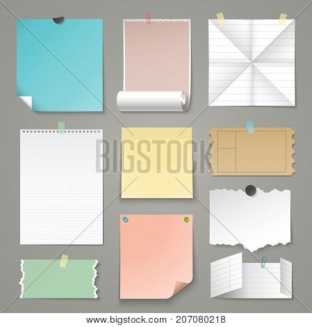 Set of paper backgrounds. Torn and folding paper, sticker, ruled graph and lined paper sheets. Vector illustration
