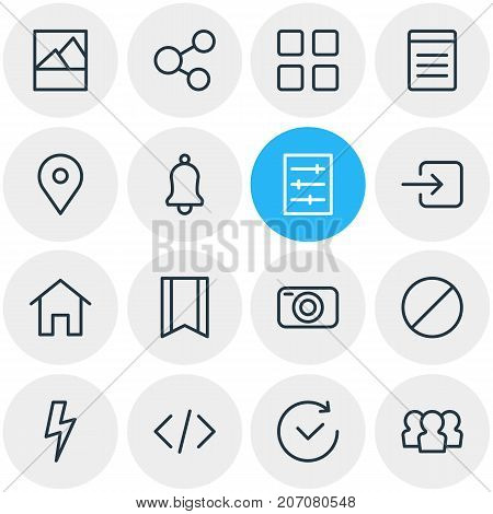 Editable Pack Of House, Picture, Pinpoint And Other Elements.  Vector Illustration Of 16 Annex Icons.