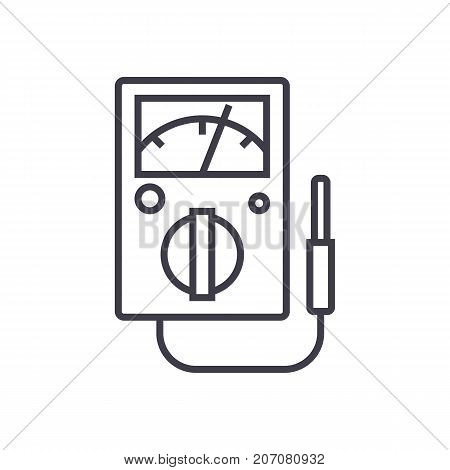 meter vector line icon, sign, illustration on white background, editable strokes