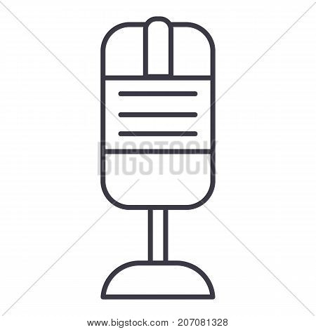 mic sign vector line icon, sign, illustration on white background, editable strokes