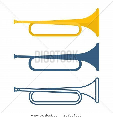 Set of bugles of different colors, golden and blue musical instruments, icons depicted on vector illustration isolated on white background